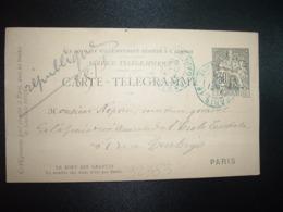 CARTE TELEGRAMME 30 OBL. BLEUE 31 OCT 95 PARIS 18 - Storia Postale