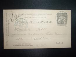 CARTE TELEGRAMME 30 OBL. BLEUE 15 FEVR 95 PARIS 58 - Storia Postale