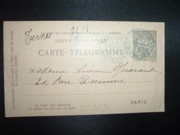 CARTE TELEGRAMME 30 OBL. BLEUE 2 JANV 93 PARIS 18 - Storia Postale
