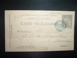 CARTE TELEGRAMME 30 OBL. Ondulée BLEUE 21 AVRIL 88 PARIS GARE DU NORD - Storia Postale