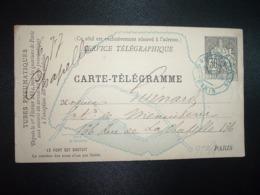 CARTE TELEGRAMME 30 OBL. Ondulée BLEUE 15 JUIN 84 PARIS R. D'ALLEMAGNE 139 - Storia Postale