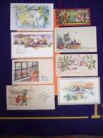 Lot Cartes Mignonnettes 1950 - 1960 - Enfants / Chaton / Ballon Dérigable ZEPPLIN  / Autre ( Paillettes - New Year