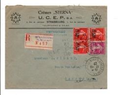 AFFRANCHISSEMENT COMPOSE SUR LETTRE A EN TETE RECOMMANDEE DE STRASBOURG 1927 - Postmark Collection (Covers)