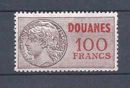 FRANCE FISCAUX DOUANES 100 Francs ** N° 46 Avec Date Au Revers - Fiscaux