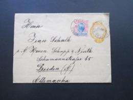 Brasilien 1898 Streifband Mit Zusatzfrankatur Landschaft Nr. 104 Pernambuco Nach Dresden Gesendet! Firmenbeleg - Briefe U. Dokumente