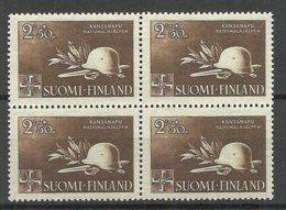 FINNLAND FINLAND 1943 Michel 275 As 4-block MNH - Finland