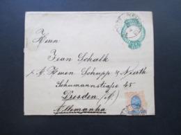 Brasilien 1898 Streifband Zusatzfrankaturen Landschaft Nr. 104 Und 105 Pernambuco Nach Dresden Gesendet! Firmenbeleg - Briefe U. Dokumente