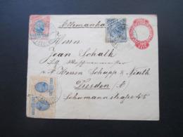Brasilien 1897 GA Umschlag Zusatzfrankaturen Landschaft Von Pernambuco Nach Dresden Gesendet! Firmenbeleg - Briefe U. Dokumente
