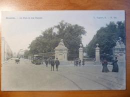 CPA- Bruxelles, Parc Et Rue Royale - Animée - Tramway Tram N° 608 - Circulée - Cachet Marbache 1907 - Parks, Gärten