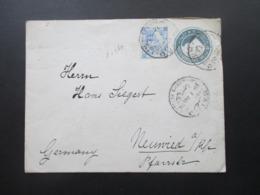 Ägypten 1906 Ganzsachen Umschlag Mit Zusatzfrankatur Cairo - Neuwied Rheinland Mit Ak Stempel Und 4 Weitere Stempel! - 1866-1914 Khedivate Of Egypt