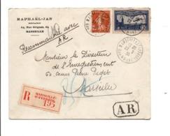 AFFRANCHISSEMENT COMPOSE SUR LETTRE RECOMMANDEE DE MARSEILLE 1936 - Poststempel (Briefe)