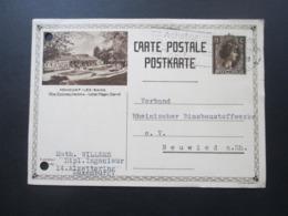 Luxemburg 1932 Ganzsache / Bildganzsache Mondorf Les Bains Aus Alzettering Nach Neuwied Mit Aktenlochung!! - Covers & Documents