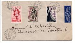 AFFRANCHISSEMENT COMPOSE SUR LETTRE AVION DE PARIS POUR LA SARRE 1953 - VIGNETTE ERINNOPHILE AU DOS - Storia Postale