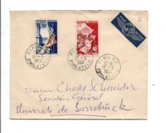 AFFRANCHISSEMENT COMPOSE SUR LETTRE AVION DE PARIS POUR LA SARRE 1954 - Storia Postale