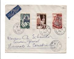 AFFRANCHISSEMENT COMPOSE SUR LETTRE AVION DE PARIS POUR LA SARRE 195 - Storia Postale