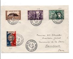 AFFRANCHISSEMENT COMPOSE SUR LETTRE DU NCONSEIL DE L'EUROPE POUR LA SARRE 1951 - Storia Postale