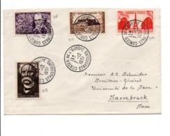 AFFRANCHISSEMENT COMPOSE SUR LETTRE DU NCONSEIL DE L'EUROPE POUR LA SARRE 1951 - Marcofilia (sobres)