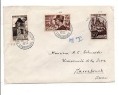 AFFRANCHISSEMENT COMPOSE SUR LETTRE DU NCONSEIL DE L'EUROPE POUR LA SARRE 1952 - Storia Postale