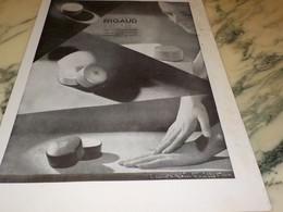 ANCIENNE PUBLICITE POUDRE DE RIGAUD 1932 - Parfum & Cosmetica