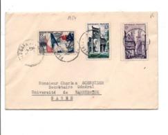 AFFRANCHISSEMENT COMPOSE SUR LETTRE DE PARIS SAINT LAZARE POUR LA SARRE 1954 - Storia Postale