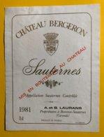 12158 - Château Bergeron 1981 Sauternes - Bordeaux