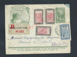 LETTRE TYPE IMPRIMÉE + TIMBRES  ILLUSTRÉE RÉPUBLIQUE FRANÇAISE MADAGASCAR EN AR DE FIANARANTSOA 1932 : - Madagascar (1889-1960)