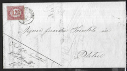 STORIA POSTALE REGNO - SERVIZIO CENT. 20 SU PIEGO SU CARTA A MANO FILIGRANATA DA CASTROVILLARI 29.DIC.1876 - Dienstpost