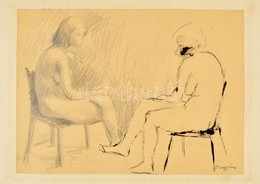 Nagy Jelzéssel: Ülő Akt. Ceruza-tus, Papír, 27×40 Cm - Non Classificati