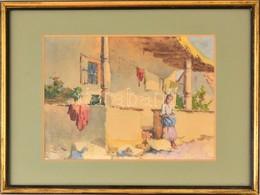 Neogrády Antal (1861-1942): Lány A Ház Előtt. Akvarell, Papír, Jelzett, üvegezett Keretben, 20×27 Cm - Non Classificati