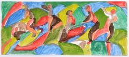 Cs. Németh Miklós (1934-2012):  Mozgásban, Akvarell, Papír, Jelzett, 15×37 Cm - Non Classificati