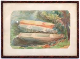 Orosz Anna: Csónakok. Akvarell, Papír. Jelzett. 18x28 Cm Üvegezett Keretben. - Non Classificati