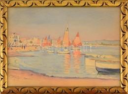Dr Pécsi János (1885-?): Cattolica. Akvarell, Papír, Jelzett, üvegezett Keretben, 25×35 Cm - Non Classificati