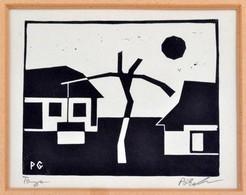 Póka György (1944-): Tanya. Linó, Papír, Jelzett, üvegezett Keretben, 13×15,5 Cm - Non Classificati