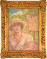 Rónai Jelzéssel: Kalapos Hölgy. Pasztell, Papír, üvegezett Keretben, 40×29 Cm - Non Classificati
