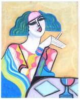 Scheiber Jelzéssel: Cigarettázó Hölgy. Pasztell, Papír, 62×49 Cm - Non Classificati