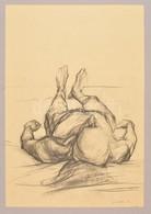 Simon Zoltán (1950-): Fekvő Férfi Akt. Ceruza, Papír, Jelzett, Paszpartuban, 48×33 Cm - Non Classificati