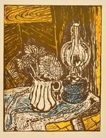 Somlai Vilma (1938-2007): Kék Lámpa. Színes Linó (72/100), Papír, Jelzett, 39×30 Cm - Non Classificati