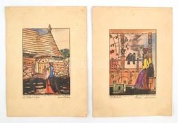 Soós Z. Jelzéssel: 2 Db Színes Mese Illusztráció Versekkel. Filc, Papír. 16x11 Cm - Non Classificati
