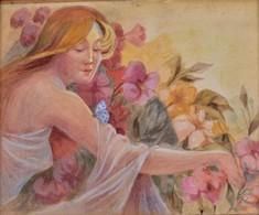 Szánthó Jelzéssel: Nő Pillangóval. Akvarell, Papír, üvegezett Hibás Keretben, 23×30 Cm - Non Classificati