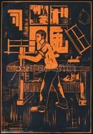 Takács Dezső (1933-): Asztalos. Színes Linó, Papír, Jelzés Nélkül. 17×12 Cm - Non Classificati