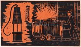 Takács Dezső (1933-): Csillét Toló. Színes Linó, Papír, Jelzés Nélkül. 10×17 Cm - Non Classificati