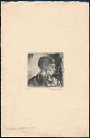 Walleshausen Zsigmond (1888-1978): Önarckép. Rézkarc, Papír, Jelzett, Gyűrődéssel, 'Imrének Szeretettel 1923 XII.23 Zsig - Non Classificati