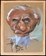 Wittman Rezső (Gatto Nero)  (1889-1972) : Férfi Portré, Karikatúra. Vegyes Technika, Papír, Jelzett, 27×22 Cm - Non Classificati