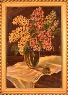 Olvashatatlan Jelzéssel: Virágos Csendélet, Olaj, Fa, Keretben, 61,5×40,5 Cm - Non Classificati