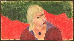 Olvashatatlan Jelzéssel: Női Portré. Pasztell, Papír, Gyűrött, 27×48 Cm - Non Classificati