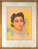 Olvashatatlan Jelzéssel: Női Portré. Pasztell, Papír, üvegezett Keretben, 45×34 Cm - Non Classificati