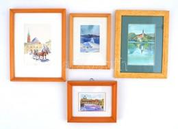 Olvashatatlan Jelzéssel: Emlék Akvarellek ( 4db), üvegezet Keretben, 6×10-14×10 Cm - Non Classificati
