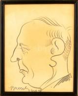 Olvashatatlan Jelzéssel: Férfi Portré (karikatúra 1931), Szén, Papír, üvegezett Keretben, 19×15 Cm - Non Classificati