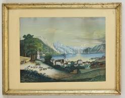 Olvashatatlan Jelzéssel: Gmunden Cca 1830. Vegyes Technika, Papír, üvegezett Keretben, 36×49 Cm - Non Classificati