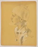 Olvashatatlan Jelzéssel: Fiú Sapkában (Szolnok 1931). Vegyes Technika, Papír, 29×23 Cm - Non Classificati